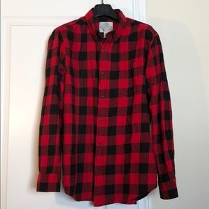 Men's red buffalo check shirt